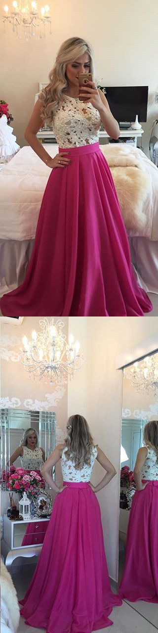 Top Selling White Lace Hot Pink Prom Dresses,Cheap Prom Dresses,See Through Evening Dress,Long Graduation Dress,Formal Women Dresses,Custom Prom Gowns, A Line Prom Gowns,Long Prom Dresses,Prom Dresses 2017