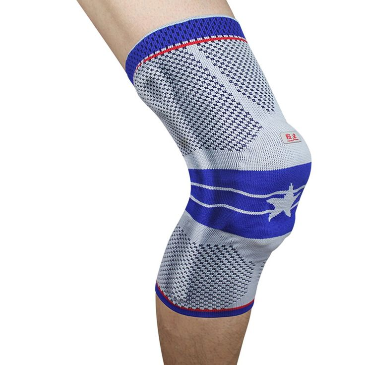 Kuangmi Senior Blue Five-star Silicone Crashproof Support Knee Compression Sleeve for Basketball Football Tennis Badminton Running (Large (Pack of 2))