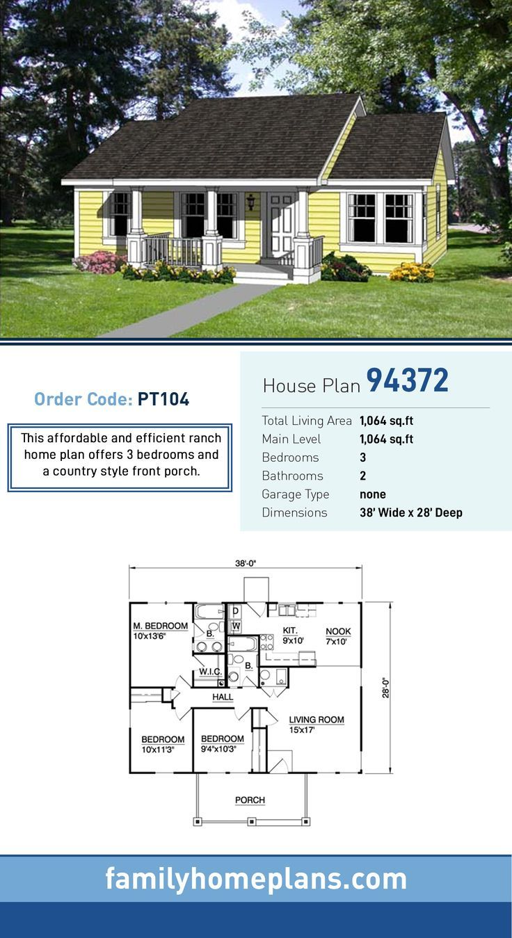 Traditional Style House Plan 25102 With 3 Bed 2 Bath In 2020 Ranch House Plans Ranch House Plan House Plans