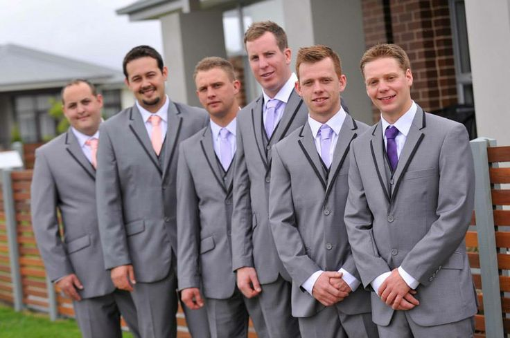 Groomsmen  Purple and coral wedding