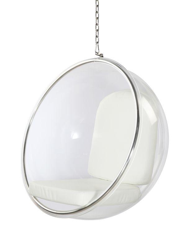 eero aarnio style bubble hanging chair white cushion