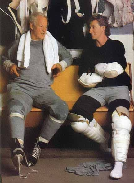 Gordie Howe and Wayne Gretzky after a skate. So much awesomeness in that dressing room.