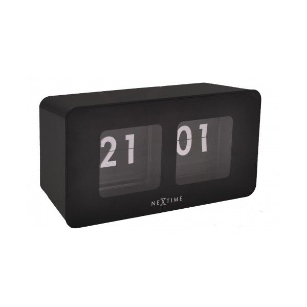 NeXtime Flipped Table Clock - Black (£35) ❤ liked on Polyvore featuring home, home decor, clocks, black home decor, british home decor, black mantle clock, nextime and black mantel clock