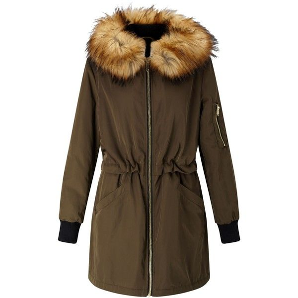 Miss Selfridge Parka Coat, Khaki ($74) ❤ liked on Polyvore featuring outerwear, coats, hooded parka, hooded coat, long sleeve coat, parka coats and khaki parka coat