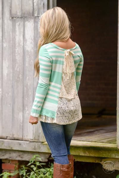 Looking Back Lace Inlay Top - Mint Stripes
