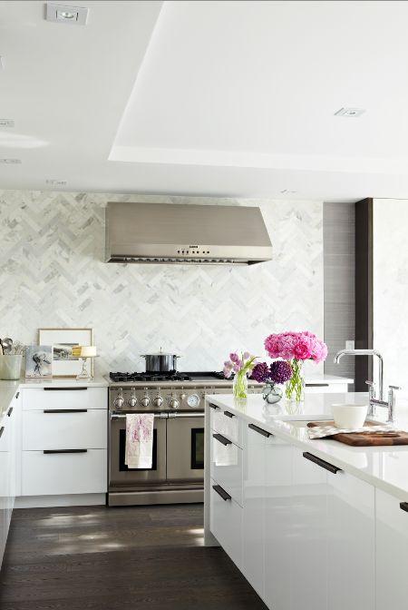 Marble Tile kitchen Backsplash; would be amazing as bathroom floor tile.