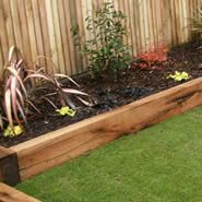 Raised beds using reclaimed railway sleepers