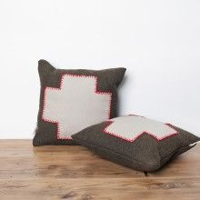 red cross, cushion, toss pillow, wool pillows, hand stitched, red, army green, vintage, furniture, north vancouver, mcm, north van, bc, handmade, shop local, home decor