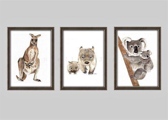 Watercolour Wombat Print Australian animal nursery prints mother and baby