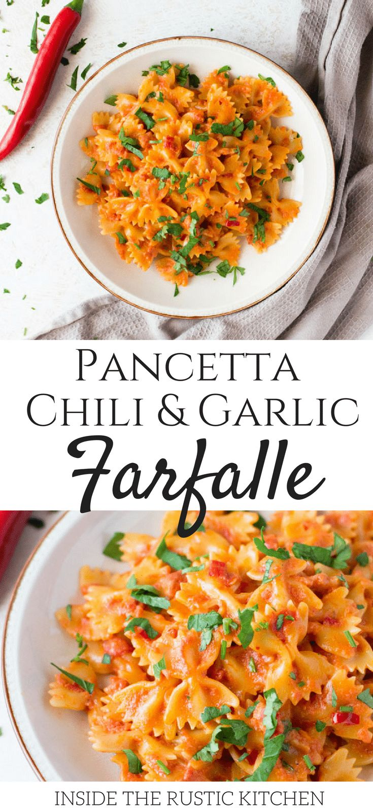 A delicious and simple farfalle pasta with pancetta recipe with fresh chili, garlic and a dash of cream. This simple pasta dish makes a great quick weeknight meal that's delicious eaten hot or cold. Italian pasta recipes insidetherustickitchen