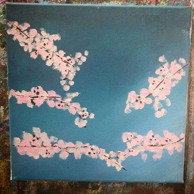 【jasmine_ramathi】さんのInstagramをピンしています。 《Kai's cherry blossoms. #paintlounge #art #cherryblossoms #painting #newhobbie #fledgling #addicted #soproud #motherhood #kaiman #cantgetenough #myson #mykoala #live #love #laugh #create #torontogirl》