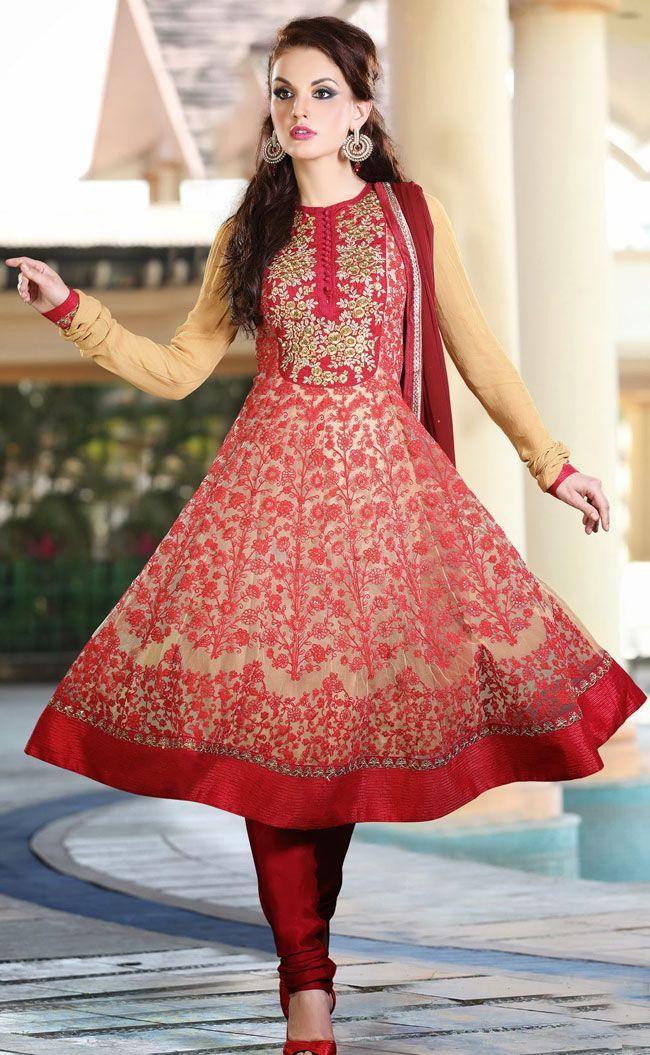 Trendy Beige Brown and Red Anarkali Salwar Kameez - IG8543