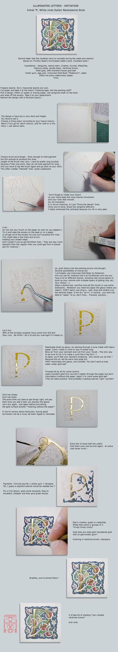 How to create an illuminated letter, step by step. Really nice instructions.