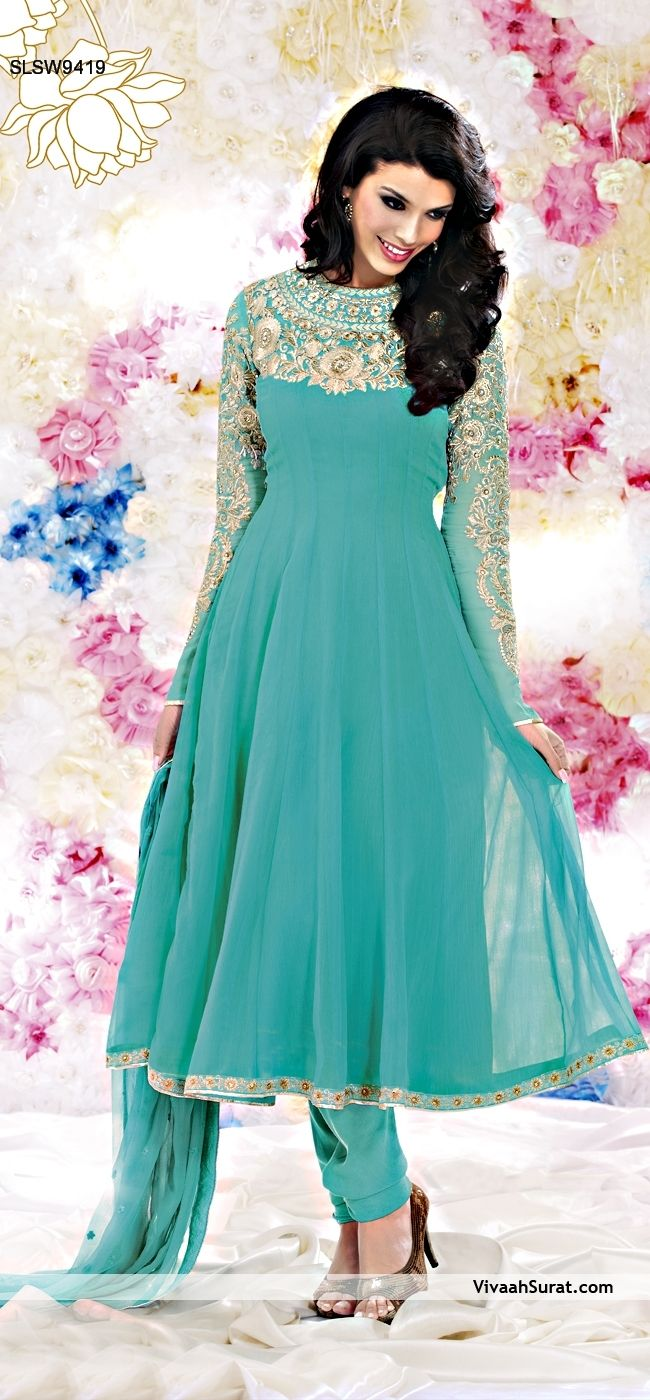 """Striking turquoise anarkali suit 