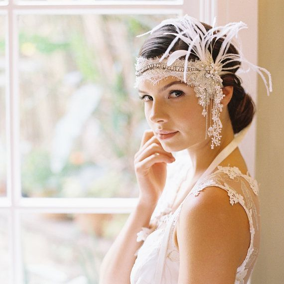 Flapper 1920s headband, forehead band, bridal hair, wedding headpiece - Style Juniper 1889