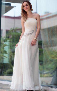 charme blanches robes de soirée une épaule Robe De Gala Femme