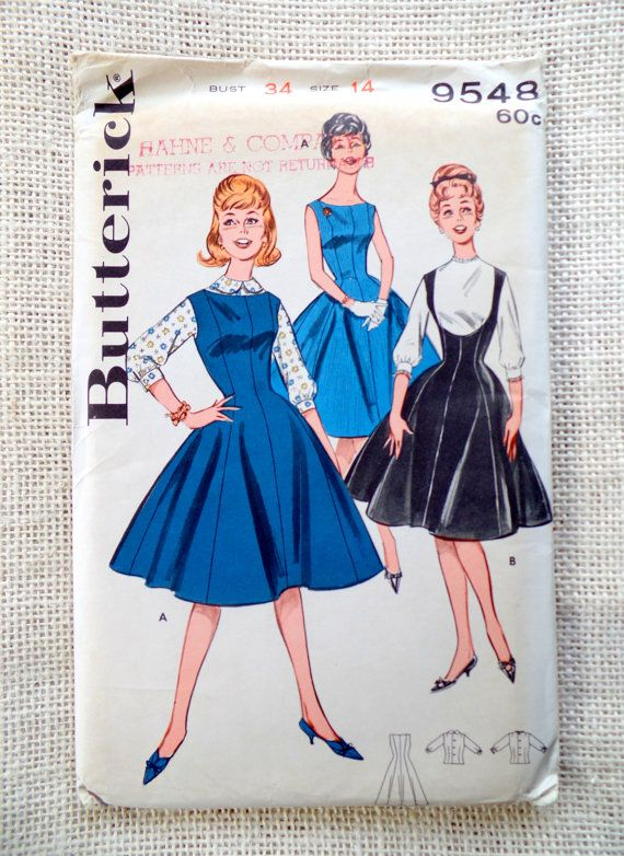 Vintage Pattern Butterick 9548 Sewing pattern 1950s full skirt dress Bust 34 princess line  Rockabilly High waist Jumper Blouse