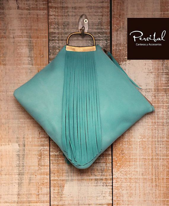 Aqua clutch fringe clutch fringed purse turquoise by Percibal