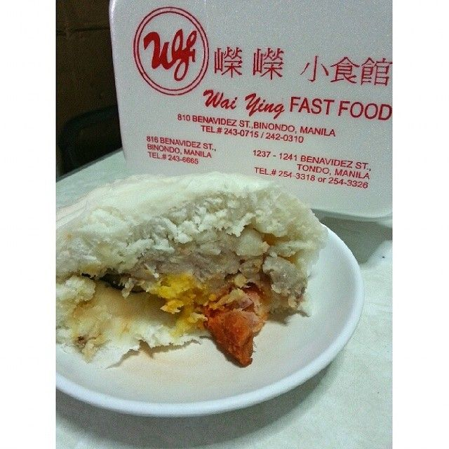 Grab a #thaipao from #WaiYing for a quick #meryenda . This jumbo #bolabola #siopao that's bigger than a fist (and normally good for 2) is filled with asado, mushroom, salted egg and chunky pork meat. #philippines #manila #chinesefood #asianfood #foodtelling