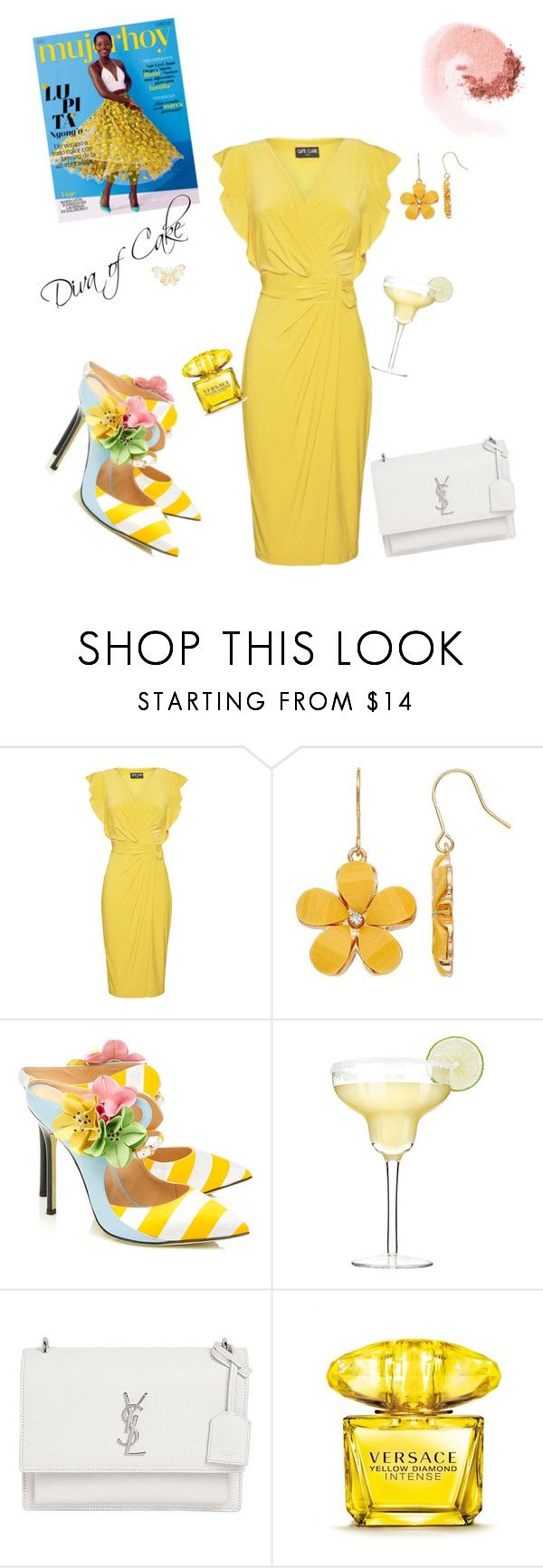 """beautiful yellow dress outfit"" by Diva of Cake featuring Ossie Clark London, Giannico, Yves Saint Laurent, Versace and NARS Cosmetics"