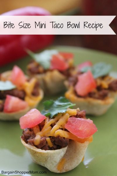 Looking for a bite size fun appetizer or party snack recipe?  Then check out this Mini Taco Bowl recipe. Not only are they tasty they are super cute too.  Plus they are easy to make. These would be great for a Super Bowl party!