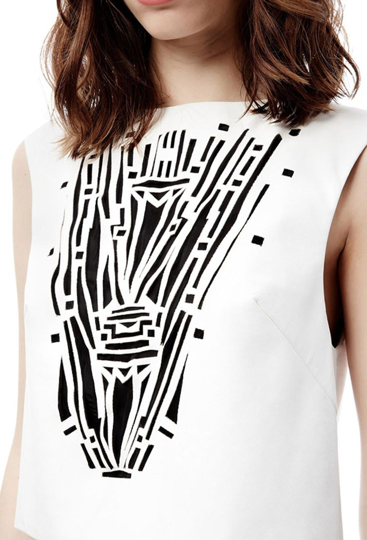 Image 2 of Aleaha Sleeveless Laser Cut Top with Open Back · Cream White · AQ/AQ