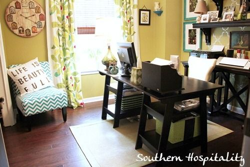 Sharing my new cottage office space in a happy green!  Lots of organizational ideas too!