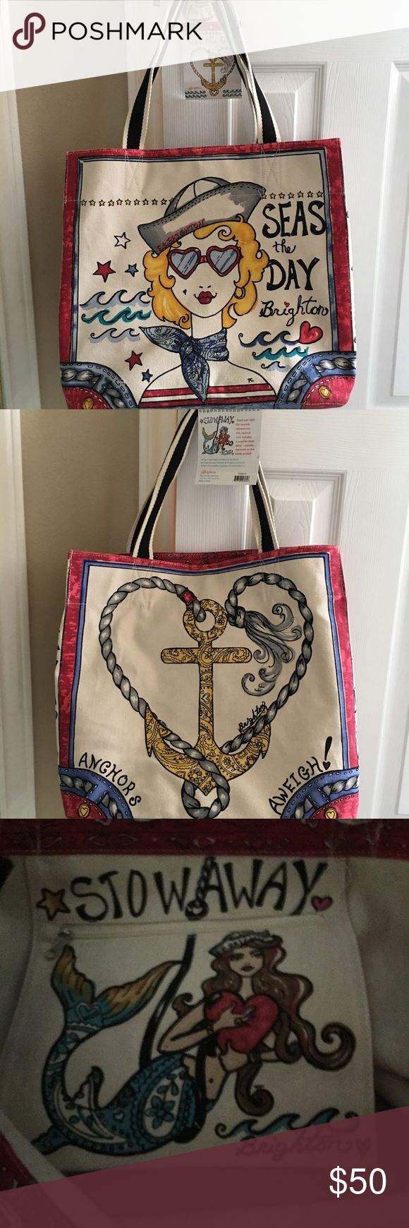 Brighton Canvas Tote Bag NWT Seas the Day  large Canvas Brighton Tote NWT. Great bag for just about anything. Print all over and inside bag. Good Sturdy Canvas. Brighton Bags Totes
