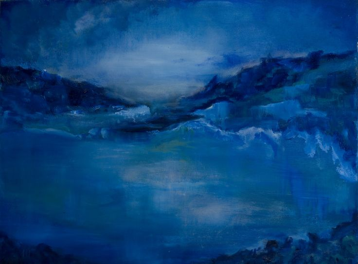 Het blauwe uurtje. The blue hour. Oilpainting on linnen. Size:60 x 80 cm. FOR SALE: € 395,00