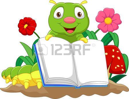 flores caricatura: Cartoon oruga linda libro de explotación