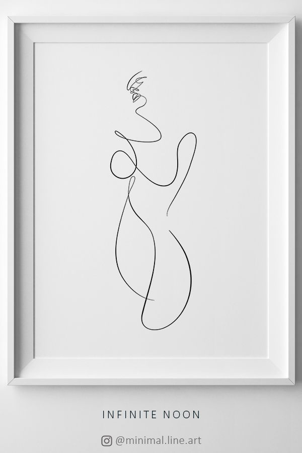 Abstract Nude Erotica Drawing, Naked Woman Line Sketch, Female One Line Print, Continuous Body Line Art, Nudeart Erotic Wall Art, Minimal – Infinite Noon