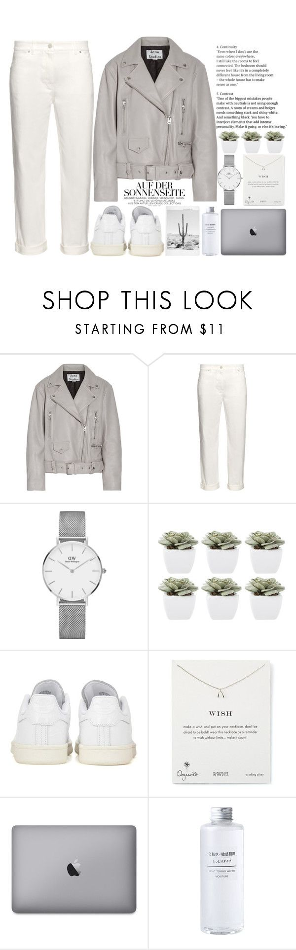 """Silvery"" by theapapa ❤ liked on Polyvore featuring Acne Studios, Balenciaga, Daniel Wellington, Abigail Ahern, adidas Originals and Dogeared"
