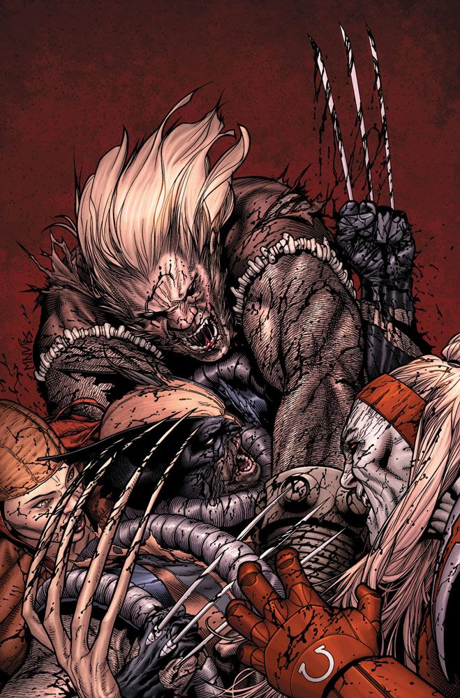 Wolverine vs Lady Deathstryke, Sabretooth and Omega Red by Steve McNiven #ComicArt #Mutants