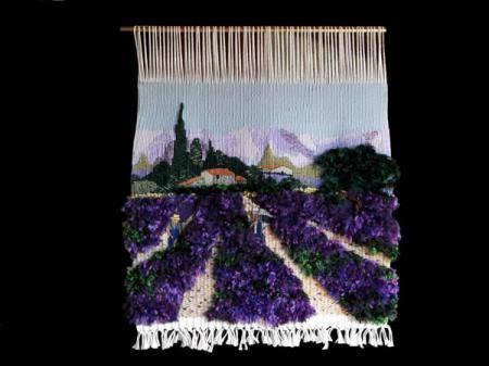 tapiz hecho a mano por rosa juanola tapiz lavanda 2 lana  seda y algodón alto lienzo
