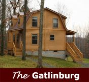 The Gatlinburg cabin is a 2story model that demonstrates the advantages of using a gambrel roof, also known as a dutch colonial design. This design has a sloped roof while maximizing head room on the upper level. The gambrel roof also allows for adequate head room on the upper level without the extra expense of dormers, although dormers can be added for even more space. The loft consists of 1-2 bedrooms and balcony overlooking the floor below. From 16 x28 to 24x40 $53,769 Base