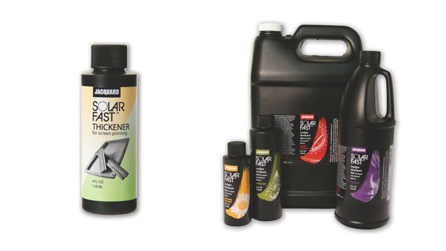 SolarFast Thickener is used to increase the viscosity of SolarFast dyes for screen printing applications. This is the easiest dye-based system for screen printing available.  Learn more here http://www.jacquardproducts.com/solarfast-thickener.html and buy yours at http://kensingtonartsupply.com/