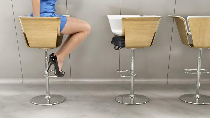 Дизайнер Михаил Беляев представил концепт барного стула с вдвойне функциональным сиденьем.