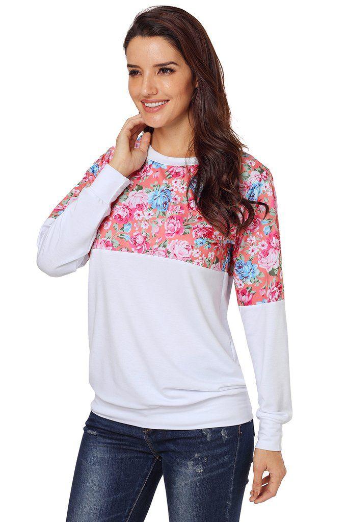 b9d0cf828fb6f patchwork imprimé voir colorblock • col rond, sweat-shirt à manches longues  •