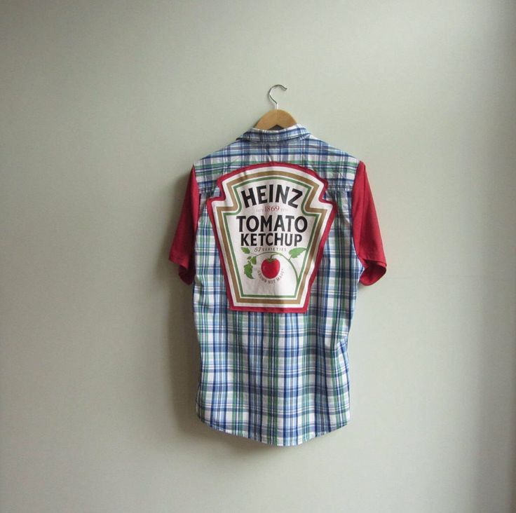 #Ketchup Shirt, Upcycled Blue Plaid Shirt, Funny Geek Shirts by Garage Couture Clothes #Hipster #Fashion