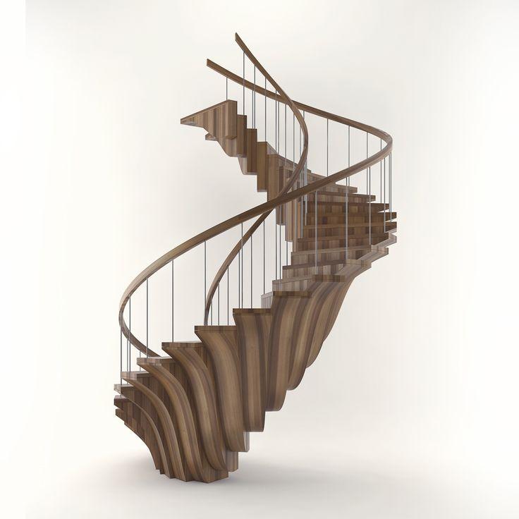 Элитная деревянная лестница Б1 - luxury wooden stairs B1