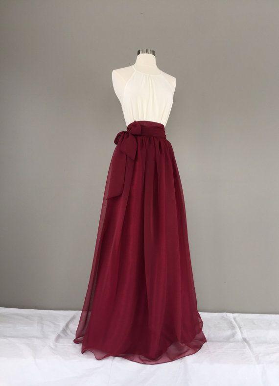 GARNET Chiffon skirt, any length and color Bridesmaid skirt, floor length, tea length, chiffon skirt, SASH is additional charge