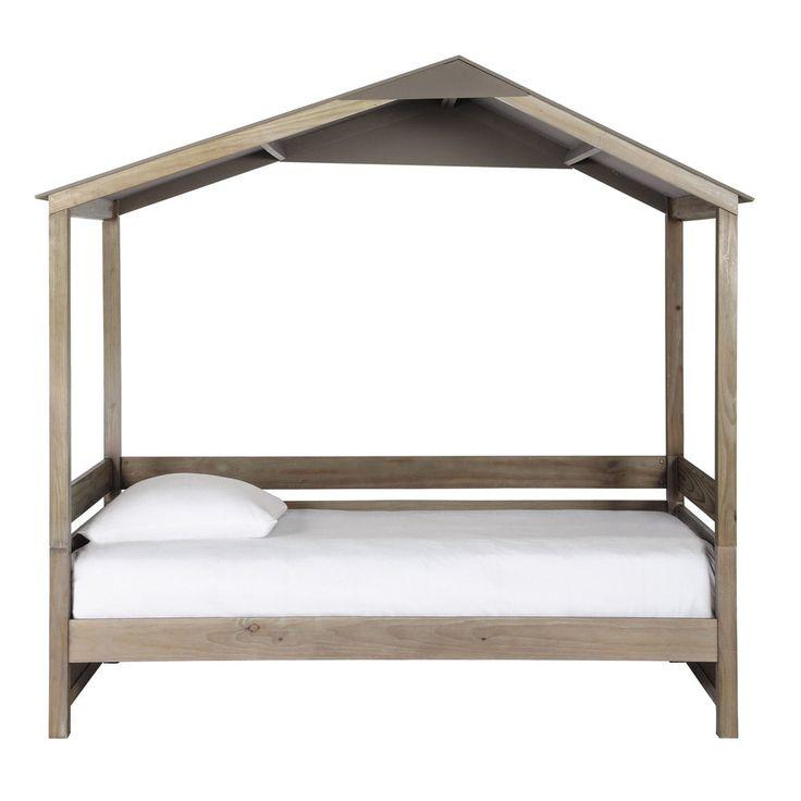 Hüttenbett für Kinder aus Holz, 90 x 190 cm