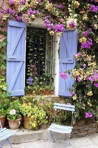 Small Window Garden: Gardens Design Idea, Blue Shutters, Blue Doors, Color, Modern Gardens Design, Outdoor, Cottages, Windows, Flower