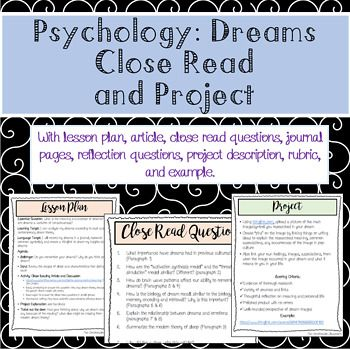 Expose Students To Modern Dream Theory Through A Close Read Article And Discussion Then Students Are Asked To Keep A D Psychology Brain Based Learning Lesson
