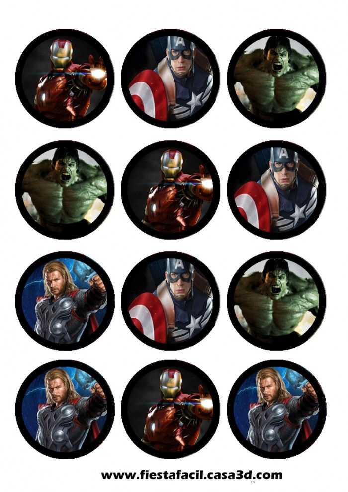 KIT IMPRIMIBLE AVENGER MARVEL STIKER CIRCULAR , KIT IMPRIMIBLE AVENGER MARVEL SHARE