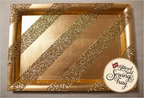 DIY Glittered Gold Serving Tray- for the holidays or a bridal shower or wedding.