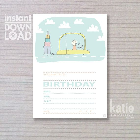 kids invitation - boys invitation - instant invitation -  childrens invitation - car - presents on Etsy, $10.00 AUD