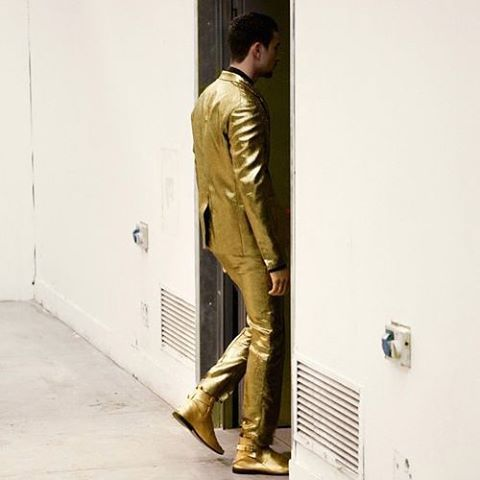 costume national Gold suit