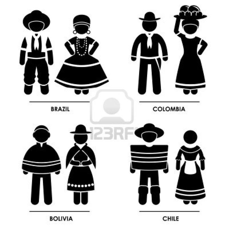 South America - Brazil Colombia Bolivia Chile Man Woman People National Traditional Costume Dress Clothing Icon Symbol Sign Pictogram Stock Photo - 15387275