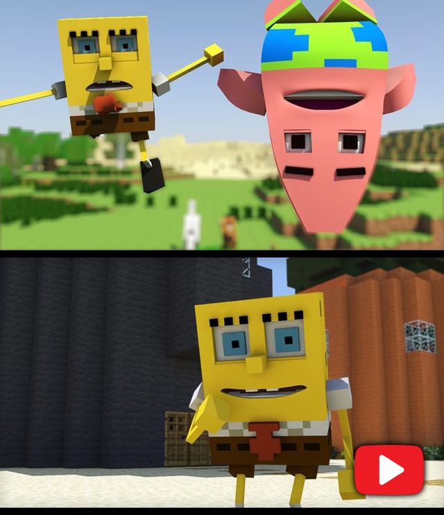 [Short funny video] Spongebob in Minecraft 2. Tap to watch/download. - @mobile9 #cartoon #animation #funny #minecraft